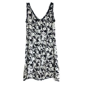 VTG Black & White Floral Mini Dress with Navy Trim